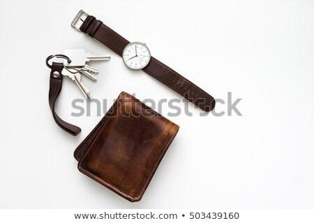 кожа кошелька ключами изолированный белый коричневый Сток-фото © RuslanOmega