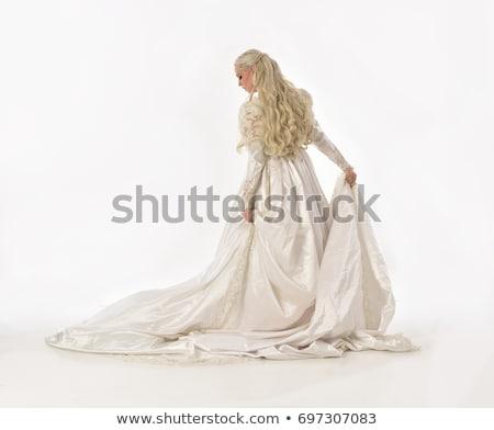 moderne · witte · trouwjurk · geïsoleerd · bal · weefsel - stockfoto © victoria_andreas