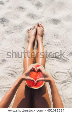улыбаясь девушки арбуза ломтик сочный зрелый Сток-фото © ssuaphoto