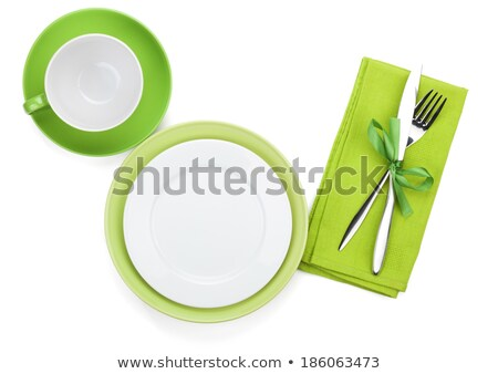 Foto stock: Tenedor · cuchillo · placas · servilleta · mesa · de · madera · alimentos