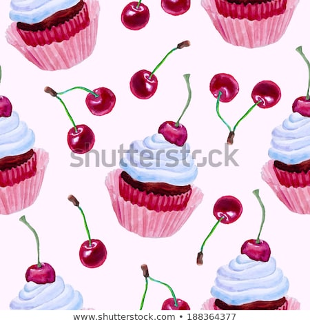 Pink Cherry Cupcake Stock photo © songbird
