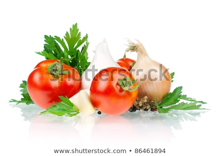 onion vegetable bulb and parsley leaves still life stock photo © natika
