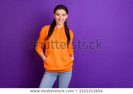 trendy teenager with style wearing sweatshirt with hood and sung stock photo © feelphotoart