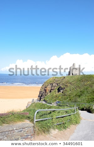 railed path to ballybunion beach and castle stock photo © morrbyte