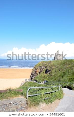 Stock photo: railed path to Ballybunion beach and castle