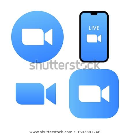 Zoom kék vektor ikon gomb háló Stock fotó © rizwanali3d