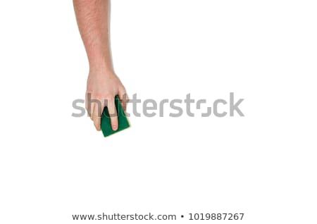 Foto stock: Masculino · mão · verde · limpeza · esponja
