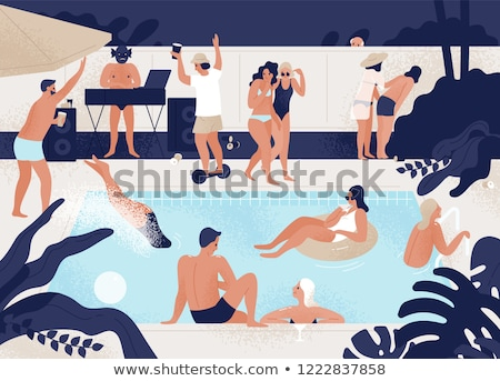 girl standing in swimming pool outdoors stock photo © deandrobot