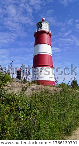 Világítótorony piros fehér Norfolk Anglia építkezés Stock fotó © chris2766