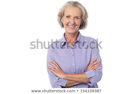 relaxed attractive mature woman white background stock photo © roboriginal