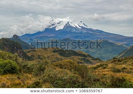 Stockfoto: Vulkaan · park · Ecuador · blauwe · hemel · sneeuw · berg