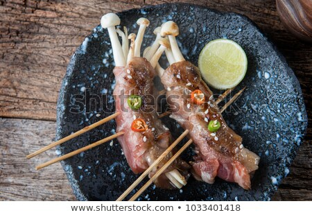 Enoki Mushrooms wrapped in Smoked Bacon Stock photo © monkey_business