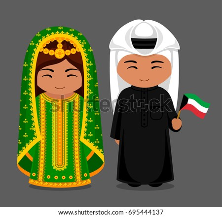 Boy and girl in Kuwait costumes Stock photo © bluering