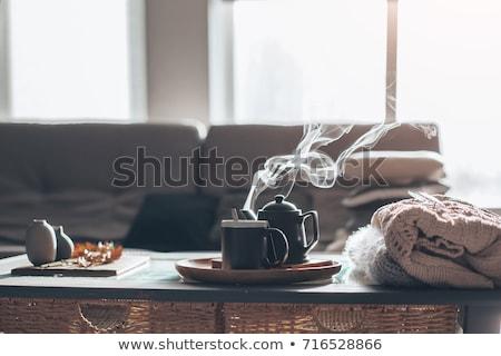 gezellig · winter · ontbijt · beker · hot · thee - stockfoto © manera