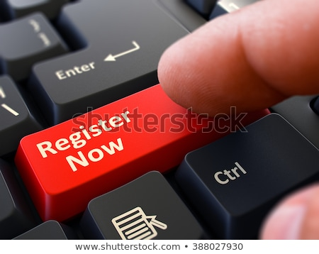 hand finger press register now button 3d illustration stock photo © tashatuvango