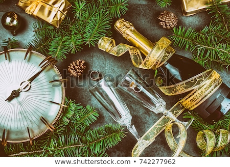 2018 New Year Champagne and clock Stock photo © RTimages