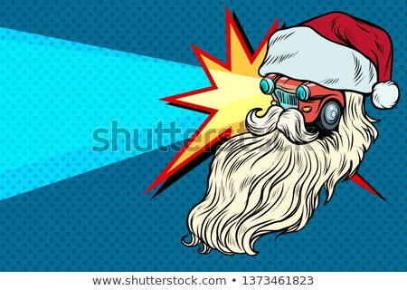Fényszórók autó mikulás karácsony karakter pop art Stock fotó © studiostoks