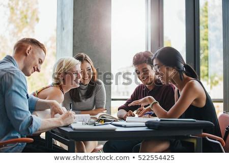 Student jonge poseren witte vrouw glimlach Stockfoto © hsfelix