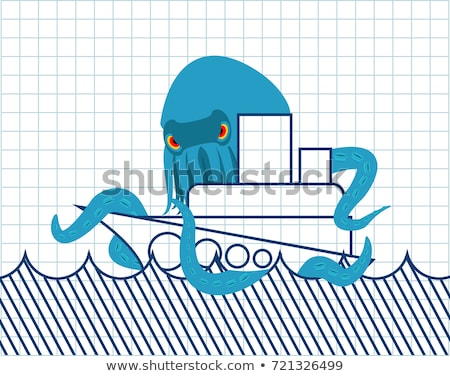 octopus and ship drawn vessel and monster scary poulpe notebo stock photo © popaukropa