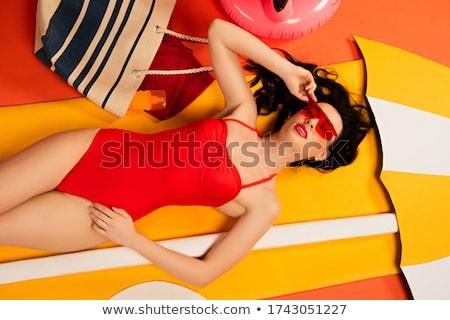 сексуальная · женщина · халат · Sexy · красивая · женщина · автопортрет - Сток-фото © deandrobot