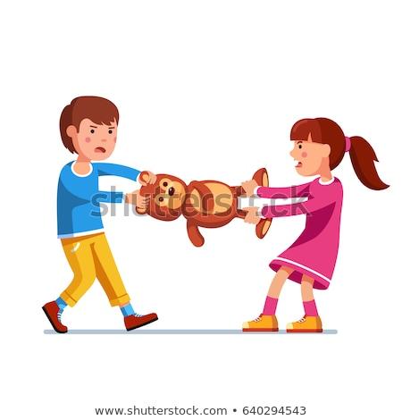 Dois crianças brigar brinquedo vetor isolado Foto stock © pikepicture