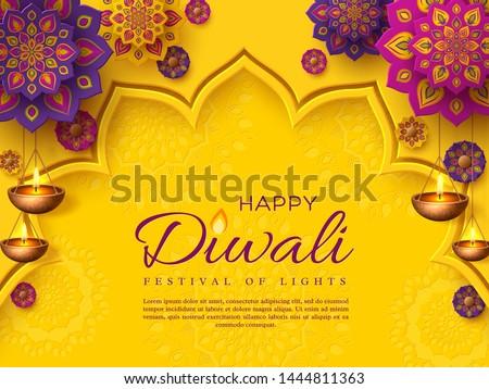happy diwali greeting with hanging diya Stock photo © SArts