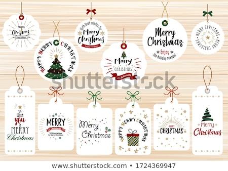Ayarlamak kırmızı neşeli Noel etiket güzel Stok fotoğraf © derocz