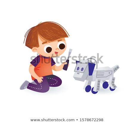 Robot kutya csavarhúzó rajz illusztráció beszél Stock fotó © cthoman