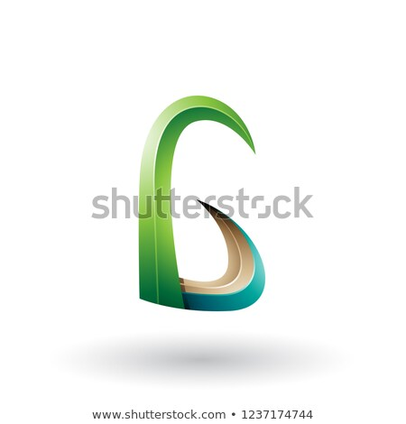 Green and Beige 3d Horn Like Letter G Vector Illustration Stock photo © cidepix