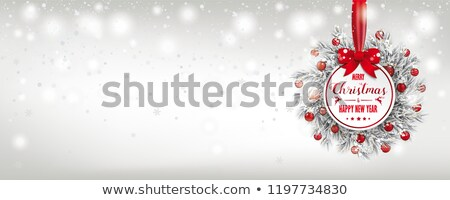 Stock photo: Merry Christmas Frozen Twigs Red Baubles Snowfall Header