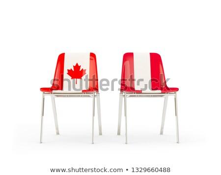 Iki sandalye bayraklar Kanada Peru yalıtılmış Stok fotoğraf © MikhailMishchenko
