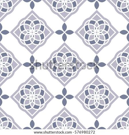portuguese tiles azulejos vector seamless indigo pattern geometric repetitve navy blue design   tex stock photo © redkoala