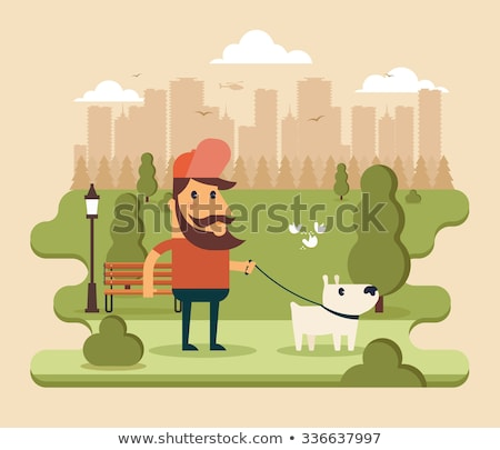 Man Character Walking Dog in City Park Vector Stock photo © robuart