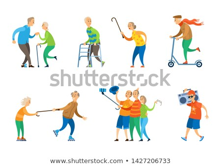 Old Disabled Man with Paddle Walker, Happy Veteran Stock photo © robuart