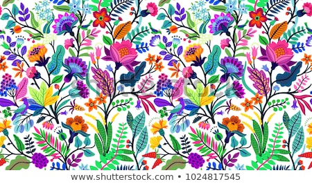 seamless pattern colorful flowers and leaves stock photo © robuart
