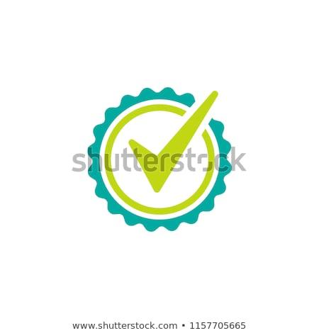 Stock fotó: Csekk · osztályzat · szalag · zöld · kör · vektor