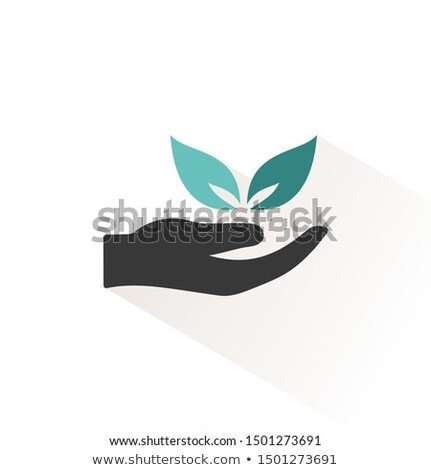 Hand and leaves. Flat icon with beige shade. Ecology, pharmacy and nature vector illustration Stock photo © Imaagio