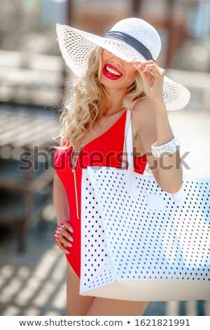 Vrouw vakantie straat zwempak witte kant Stockfoto © ElenaBatkova