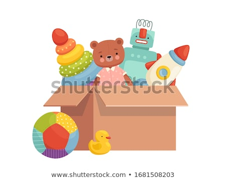 Set of many toys in cardboard boxes on white background Stock photo © bluering