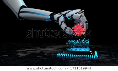 Robot hardver vírus 3d illusztráció biztonság hálózat Stock fotó © limbi007