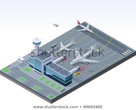 самолет ВПП аэропорту изометрический икона вектора Сток-фото © pikepicture
