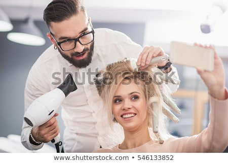 Stockfoto: Mannelijke · kapper · stilist · man · haardroger · lucht