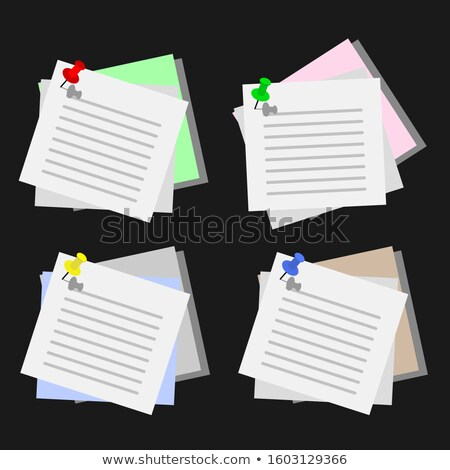 Crumpled sticky notes attached thumbtack. Stock photo © borysshevchuk