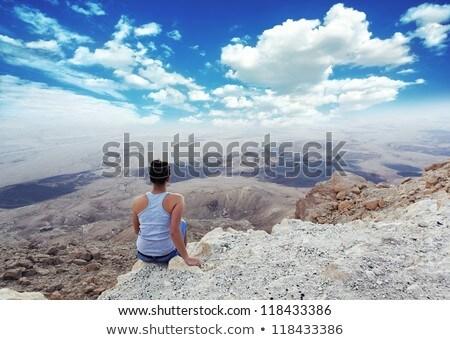 Meisje mooie bezienswaardigheden canyon namiddag hemel Stockfoto © OleksandrO