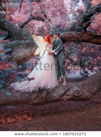 gyönyörű · vörös · hajú · nő · nő · rózsaszín · szárnyak · toll - stock fotó © lunamarina