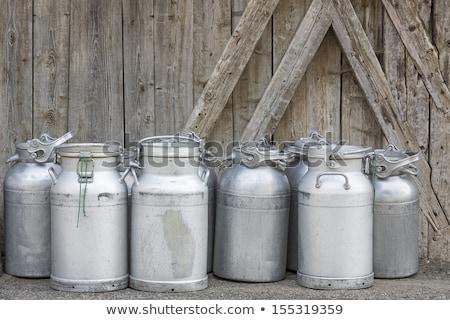Vintage Milk Cans In Rural Northern Italy Stok fotoğraf © haraldmuc
