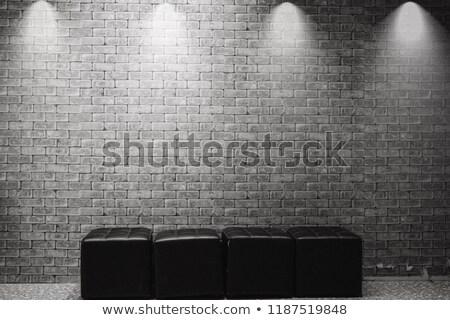 Blanche mur de briques bureau intérieur deux cuir Photo stock © vizarch