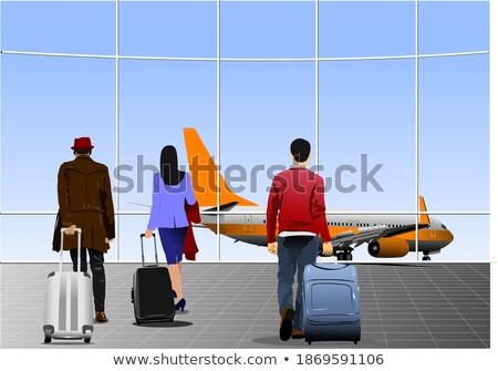 Lotniska scena człowiek świetle podróży sylwetka Zdjęcia stock © leonido