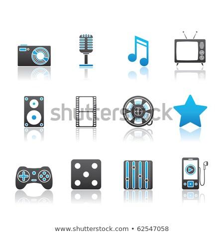 Blue Glossy Film Reel icon Stock photo © cidepix