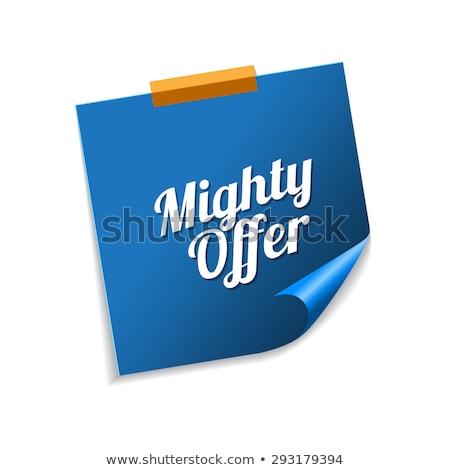 Potężny oferta niebieski karteczki wektora ikona Zdjęcia stock © rizwanali3d